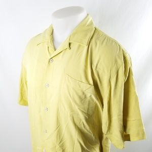 Tommy Bahama Button Front Shirt Large Silk Yellow